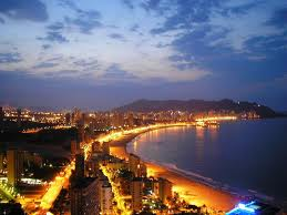 Benidorm beach at night